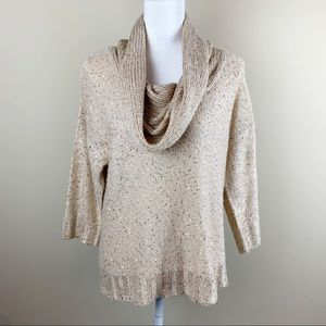 Roz & Ali gold sequined turtleneck knit sweater